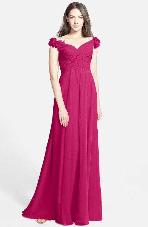ColsBM Carolina Beetroot Purple Gorgeous Fit-n-Flare Off-the-Shoulder Sleeveless Zip up Chiffon Bridesmaid Dresses