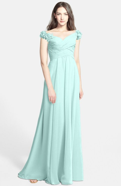 ColsBM Carolina Blue Glass Gorgeous Fit-n-Flare Off-the-Shoulder Sleeveless Zip up Chiffon Bridesmaid Dresses