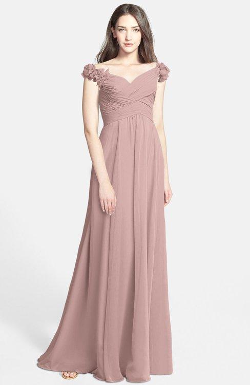 ColsBM Carolina Blush Pink Gorgeous Fit-n-Flare Off-the-Shoulder Sleeveless Zip up Chiffon Bridesmaid Dresses