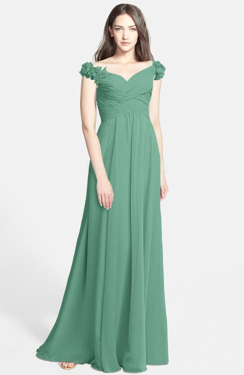 ColsBM Carolina Bristol Blue Gorgeous Fit-n-Flare Off-the-Shoulder Sleeveless Zip up Chiffon Bridesmaid Dresses