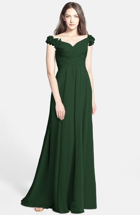 ColsBM Carolina Hunter Green Gorgeous Fit-n-Flare Off-the-Shoulder Sleeveless Zip up Chiffon Bridesmaid Dresses