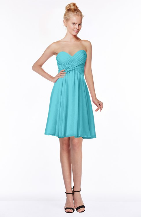ColsBM Bridget Turquoise Casual Sleeveless Zip up Chiffon Mini Bridesmaid Dresses