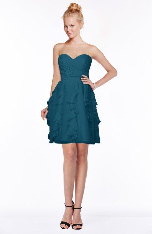 ColsBM Carmen Moroccan Blue Princess Fit-n-Flare Zip up Chiffon Ruching Bridesmaid Dresses
