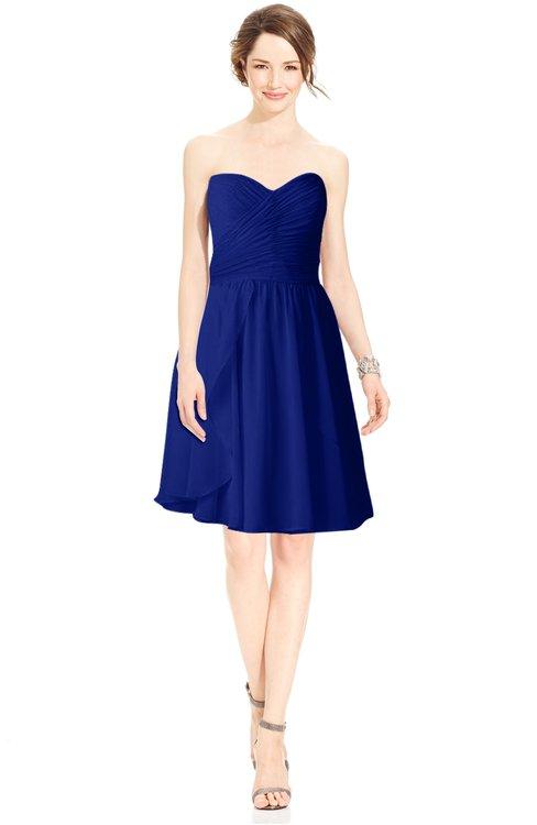ColsBM Jaelyn Nautical Blue Casual Fit-n-Flare Sweetheart Sleeveless Knee Length Ruching Bridesmaid Dresses