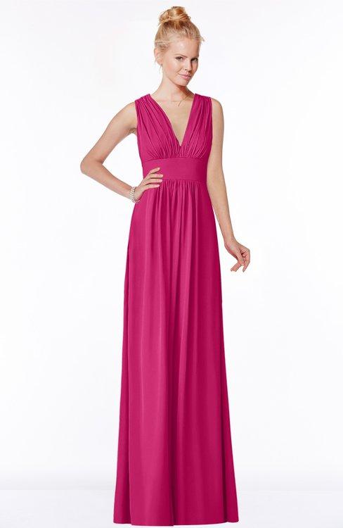 ColsBM Carolyn Beetroot Purple Classic V-neck Sleeveless Zip up Ruching Bridesmaid Dresses