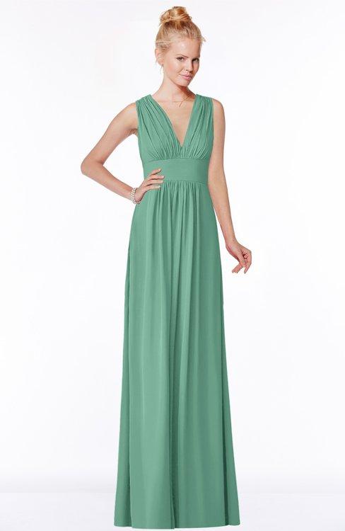 ColsBM Carolyn Beryl Green Classic V-neck Sleeveless Zip up Ruching Bridesmaid Dresses
