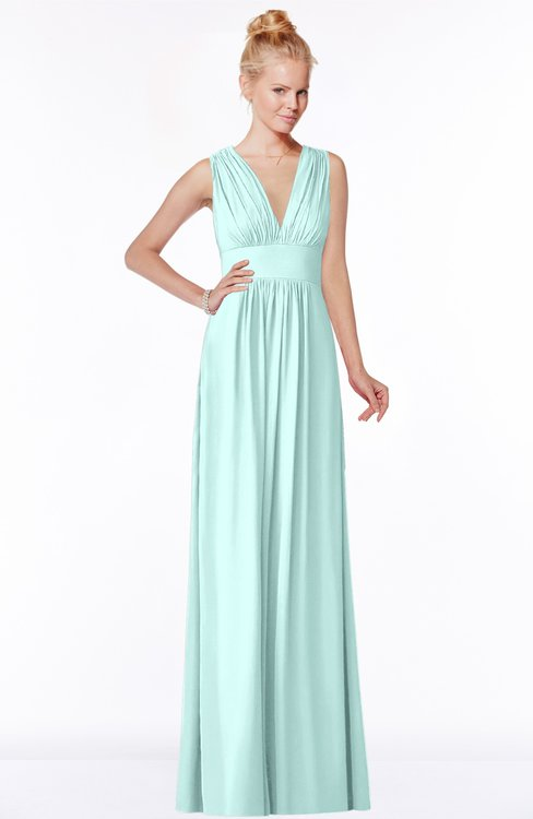 ColsBM Carolyn Blue Glass Classic V-neck Sleeveless Zip up Ruching Bridesmaid Dresses