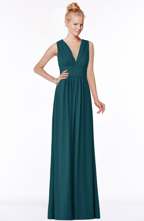 ColsBM Carolyn Blue Green Classic V-neck Sleeveless Zip up Ruching Bridesmaid Dresses