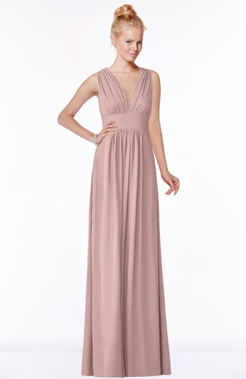 ColsBM Carolyn Blush Pink Classic V-neck Sleeveless Zip up Ruching Bridesmaid Dresses