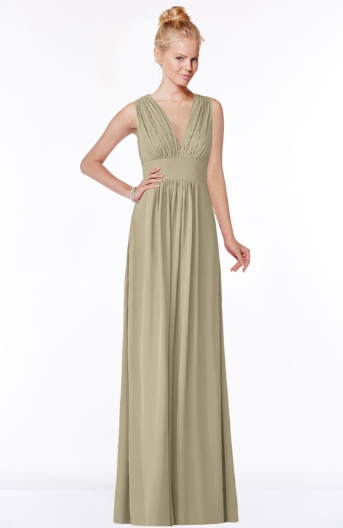 ColsBM Carolyn Candied Ginger Classic V-neck Sleeveless Zip up Ruching Bridesmaid Dresses