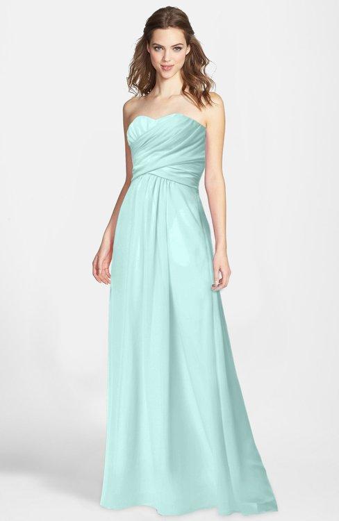 ColsBM Aliana Blue Glass Simple Sweetheart Sleeveless Zip up Chiffon Bridesmaid Dresses