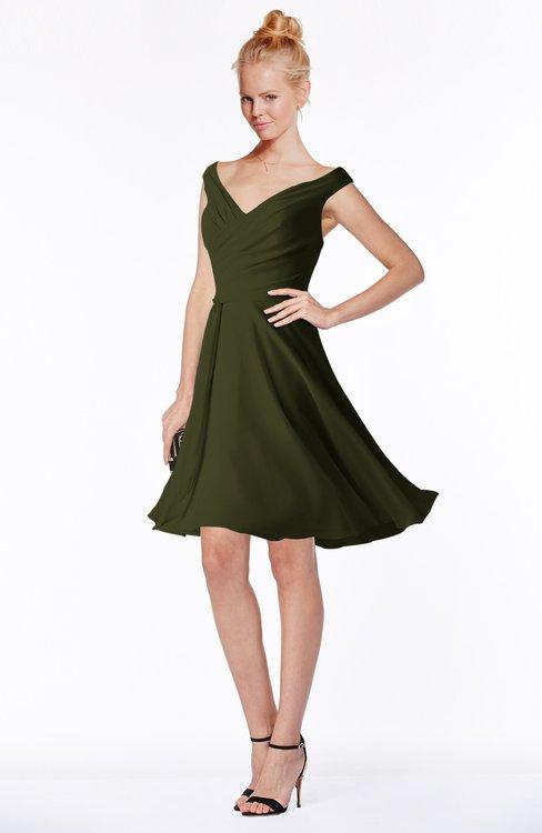 ColsBM Chloe Beech Classic Fit-n-Flare Zip up Chiffon Knee Length Ruching Bridesmaid Dresses