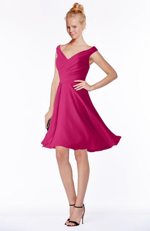 ColsBM Chloe Beetroot Purple Classic Fit-n-Flare Zip up Chiffon Knee Length Ruching Bridesmaid Dresses