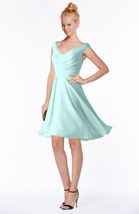 ColsBM Chloe Blue Glass Classic Fit-n-Flare Zip up Chiffon Knee Length Ruching Bridesmaid Dresses
