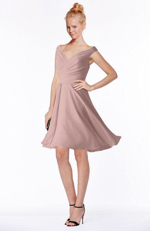 ColsBM Chloe Blush Pink Classic Fit-n-Flare Zip up Chiffon Knee Length Ruching Bridesmaid Dresses