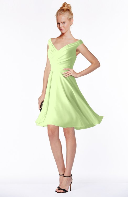 ColsBM Chloe Butterfly Classic Fit-n-Flare Zip up Chiffon Knee Length Ruching Bridesmaid Dresses