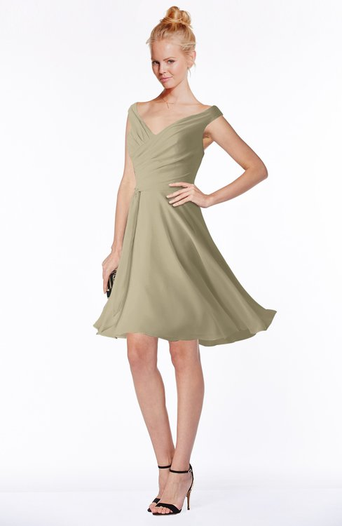 ColsBM Chloe Candied Ginger Classic Fit-n-Flare Zip up Chiffon Knee Length Ruching Bridesmaid Dresses