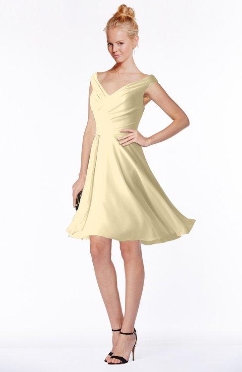 ColsBM Chloe Cornhusk Classic Fit-n-Flare Zip up Chiffon Knee Length Ruching Bridesmaid Dresses