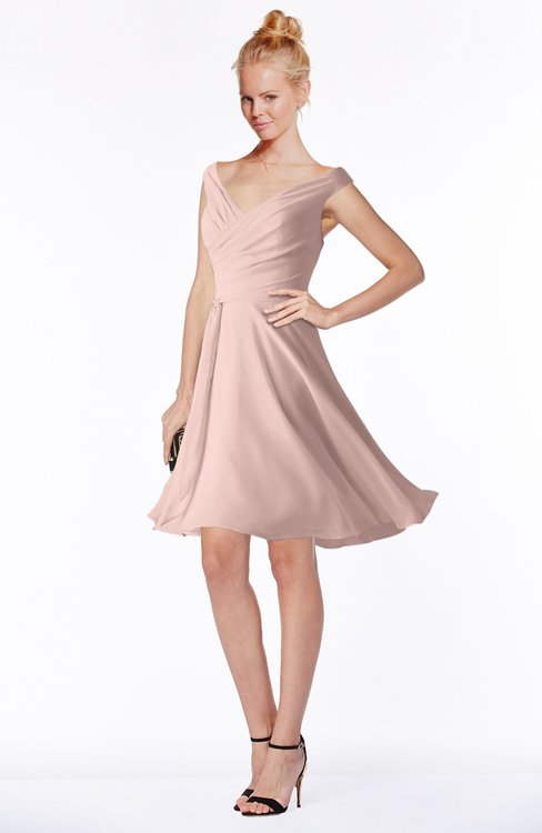 Pink Chiffon Knee Length Dress