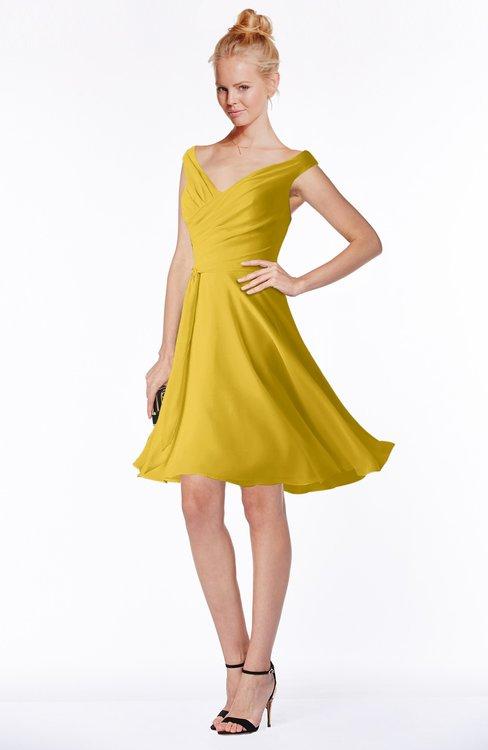 ColsBM Chloe Lemon Curry Classic Fit-n-Flare Zip up Chiffon Knee Length Ruching Bridesmaid Dresses