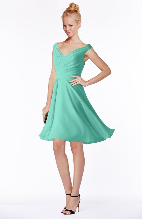 ColsBM Chloe Mint Green Classic Fit-n-Flare Zip up Chiffon Knee Length Ruching Bridesmaid Dresses