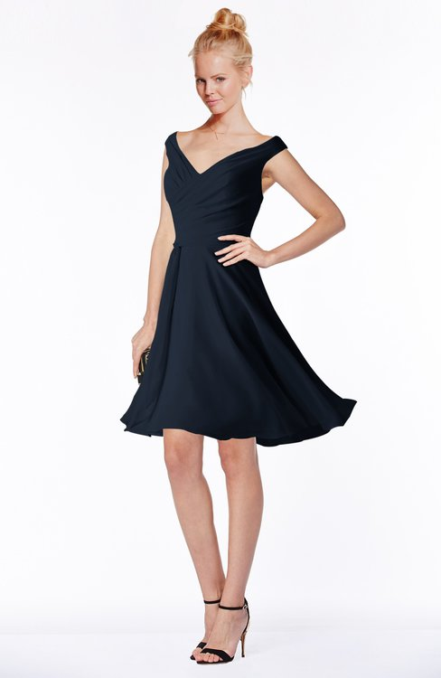 Navy blue classic fit n flare zip up chiffon knee length for Knee length fitted wedding dresses