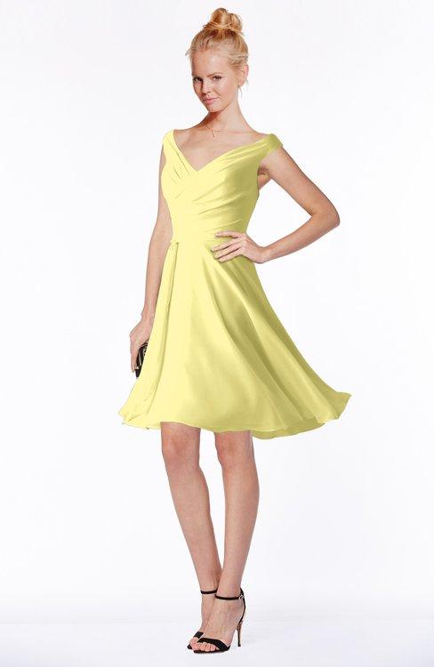 ColsBM Chloe Pastel Yellow Classic Fit N Flare Zip Up Chiffon Knee Length Ruching