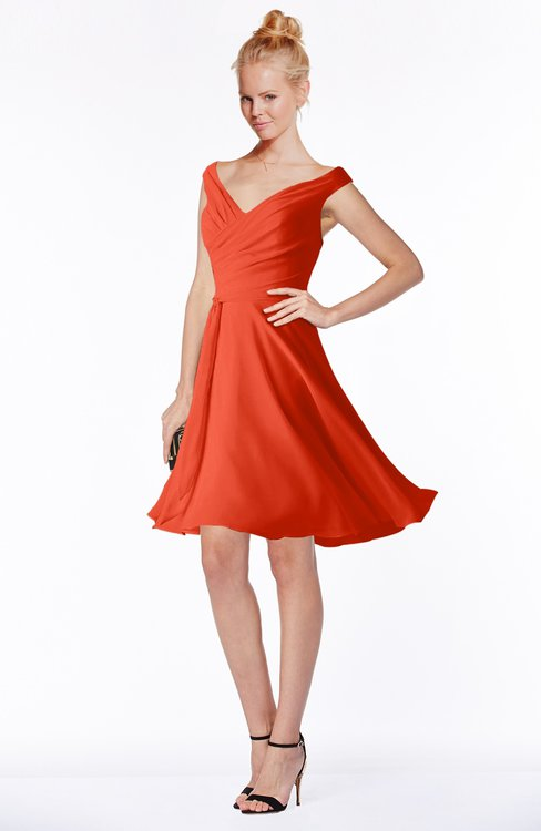 ColsBM Chloe Persimmon Classic Fit-n-Flare Zip up Chiffon Knee Length Ruching Bridesmaid Dresses
