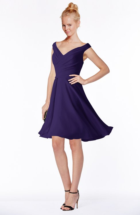 ColsBM Chloe Royal Purple Classic Fit-n-Flare Zip up Chiffon Knee Length Ruching Bridesmaid Dresses