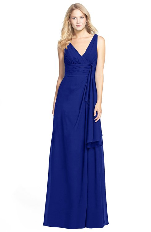 ColsBM Ashlyn Nautical Blue Luxury A-line V-neck Zip up Floor Length Bridesmaid Dresses