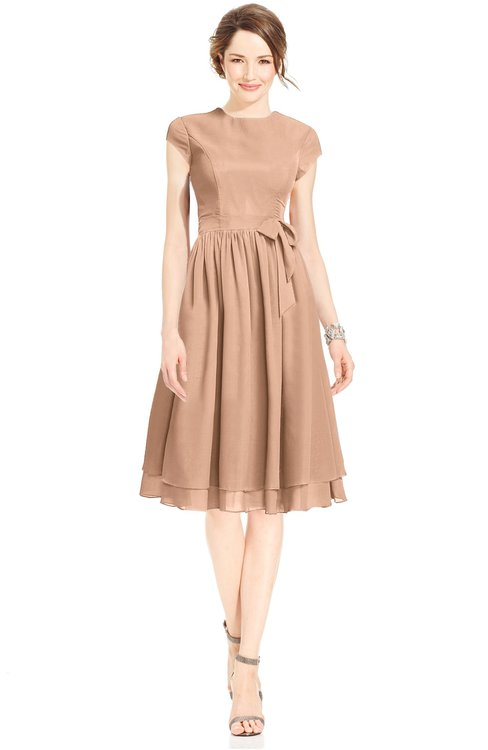 ColsBM Jane Almost Apricot Mature Fit-n-Flare High Neck Zip up Chiffon Bridesmaid Dresses