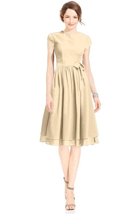 ColsBM Jane Apricot Gelato Mature Fit-n-Flare High Neck Zip up Chiffon Bridesmaid Dresses