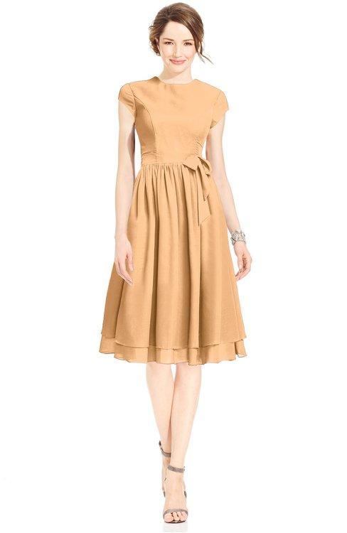 ColsBM Jane Apricot Mature Fit-n-Flare High Neck Zip up Chiffon Bridesmaid Dresses