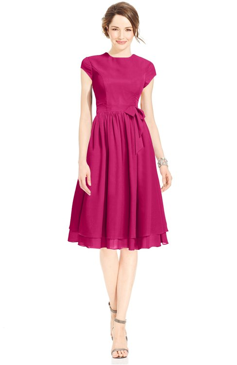 ColsBM Jane Beetroot Purple Mature Fit-n-Flare High Neck Zip up Chiffon Bridesmaid Dresses