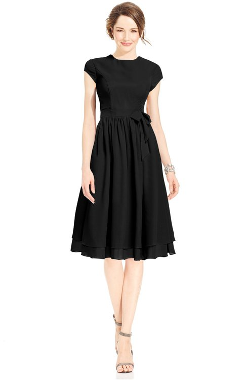 ColsBM Jane Black Mature Fit-n-Flare High Neck Zip up Chiffon Bridesmaid Dresses