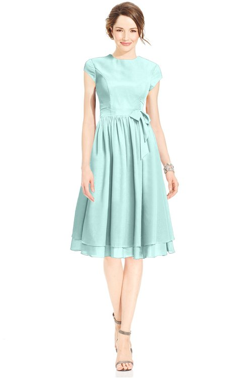 ColsBM Jane Blue Glass Mature Fit-n-Flare High Neck Zip up Chiffon Bridesmaid Dresses