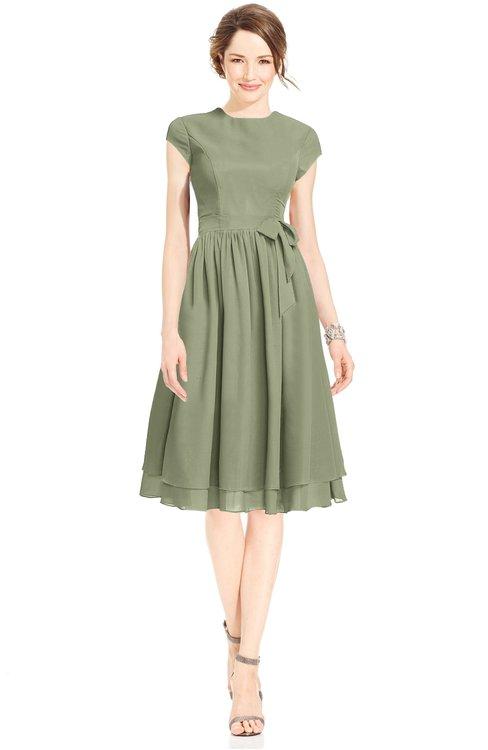 ColsBM Jane Bog Mature Fit-n-Flare High Neck Zip up Chiffon Bridesmaid Dresses
