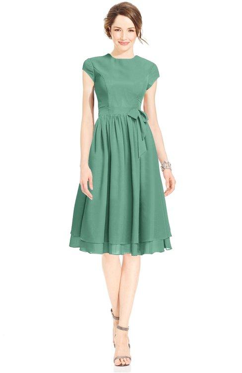 ColsBM Jane Bristol Blue Mature Fit-n-Flare High Neck Zip up Chiffon Bridesmaid Dresses