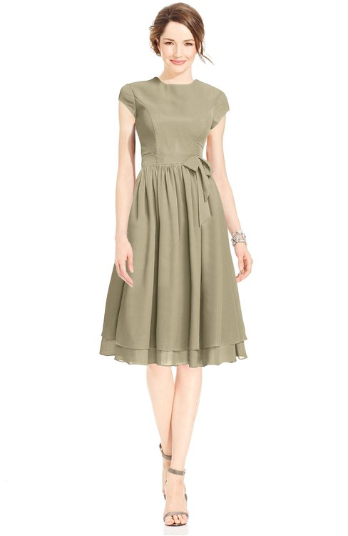 ColsBM Jane Candied Ginger Mature Fit-n-Flare High Neck Zip up Chiffon Bridesmaid Dresses