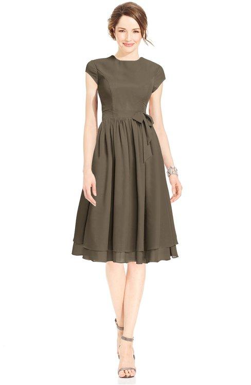 ColsBM Jane Carafe Brown Mature Fit-n-Flare High Neck Zip up Chiffon Bridesmaid Dresses