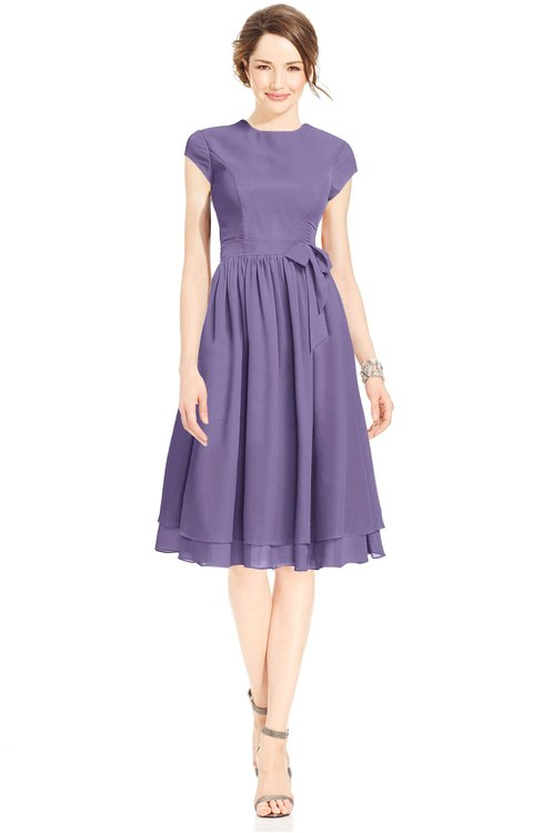 ColsBM Jane Chalk Violet Mature Fit-n-Flare High Neck Zip up Chiffon Bridesmaid Dresses