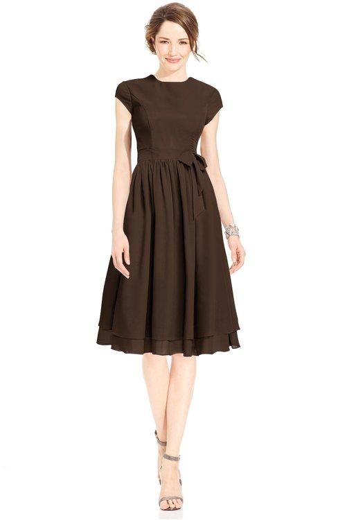 ColsBM Jane Copper Mature Fit-n-Flare High Neck Zip up Chiffon Bridesmaid Dresses
