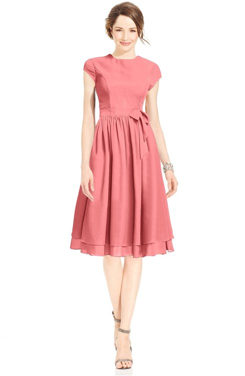 ColsBM Jane Coral Mature Fit-n-Flare High Neck Zip up Chiffon Bridesmaid Dresses