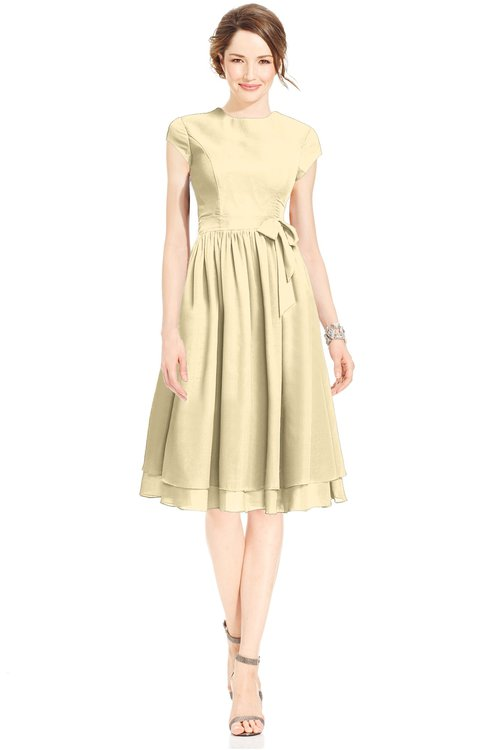 ColsBM Jane Cornhusk Mature Fit-n-Flare High Neck Zip up Chiffon Bridesmaid Dresses