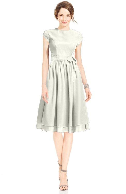 ColsBM Jane Cream Mature Fit-n-Flare High Neck Zip up Chiffon Bridesmaid Dresses