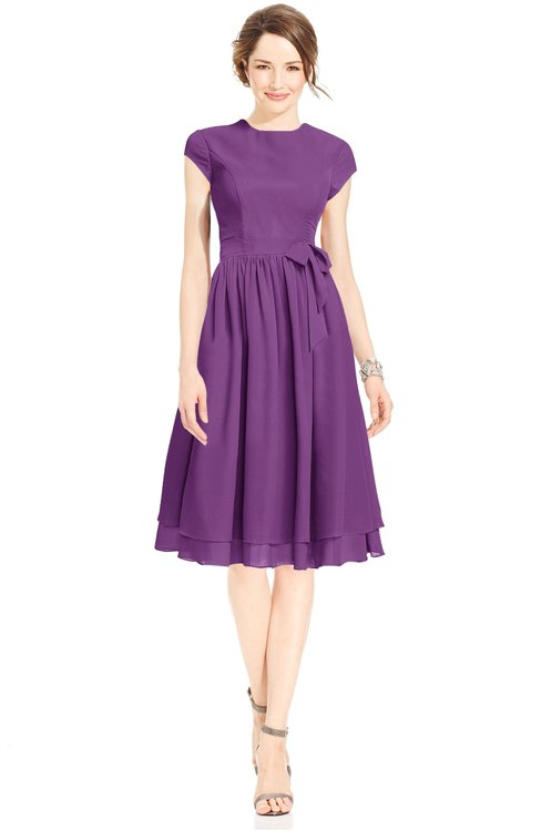 ColsBM Jane Dahlia Mature Fit-n-Flare High Neck Zip up Chiffon Bridesmaid Dresses