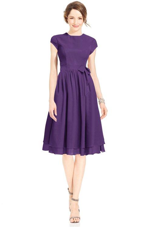 ColsBM Jane Dark Purple Mature Fit-n-Flare High Neck Zip up Chiffon Bridesmaid Dresses