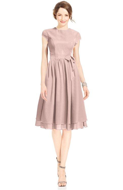 ColsBM Jane Dusty Rose Mature Fit-n-Flare High Neck Zip up Chiffon Bridesmaid Dresses