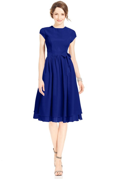 ColsBM Jane Electric Blue Mature Fit-n-Flare High Neck Zip up Chiffon Bridesmaid Dresses
