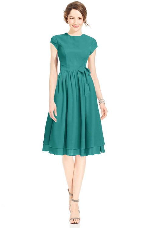 ColsBM Jane Emerald Green Mature Fit-n-Flare High Neck Zip up Chiffon Bridesmaid Dresses